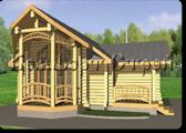 Проект деревянной бани 0-4, Комфорт строй, с сайта Поморсруб.рф
