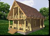 Проект деревянной бани 0-8, Комфорт строй, с сайта Поморсруб.рф